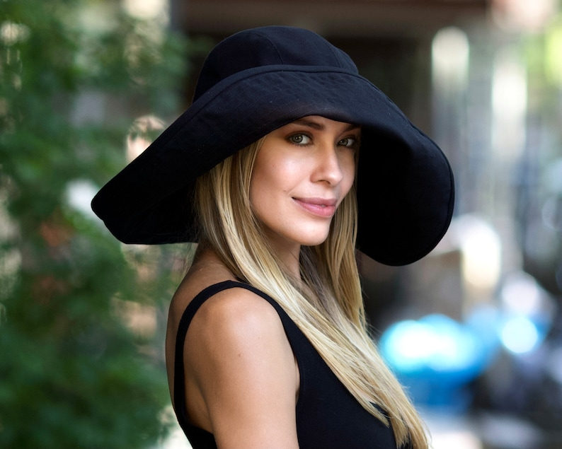 Extra Wide Brimmed Floppy Hat Women's Sunhat Washable Black