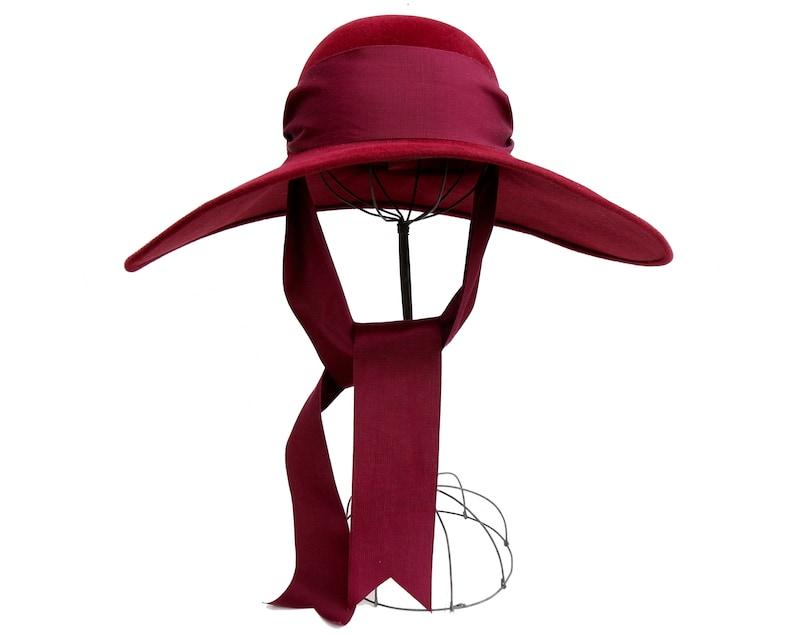 c4e76eb29 Handmade Burgundy Hat For Women, Fall Fashion, Fall Accessories, 1920s  Style, Boho Fashion, Oxblood Hat, Wine Color Headwear, Wide Brim Hat