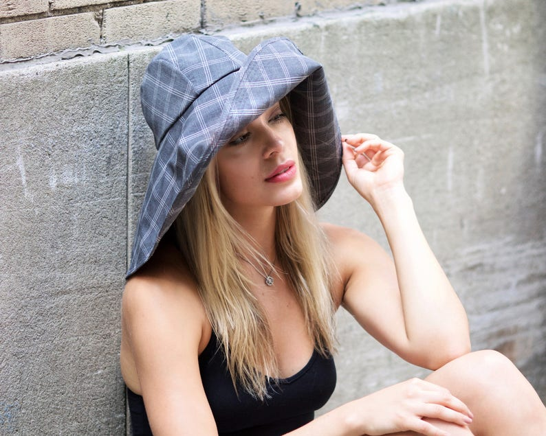 41375dddd027 Wide Brimmed Floppy Hat Women s Sun Hat Urban Sun Hat Gray