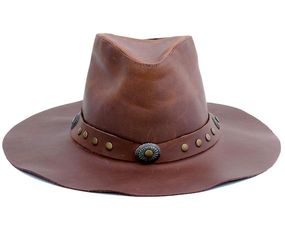 Leather Fedora Hat Hippie Boho Hat Western Hat Cowboy Leather Hat Handmade Hat