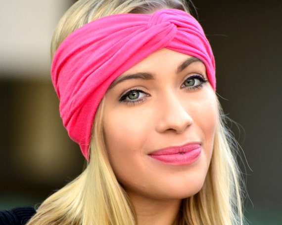 Hot Pink Spandex Lycra Yoga Headband Soft Stretchy Headband
