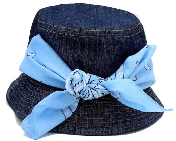 Denim Bucket 90s Hat Gift For Women Cotton Bandana Hat Surfer Hat Summer Boho Sun Hat Women's Hat Blue Hat Gift For Her