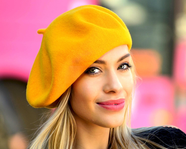 Beret Hat Wool Beret French Beret Mustard Amber Fall Fashion  b5591c57eea