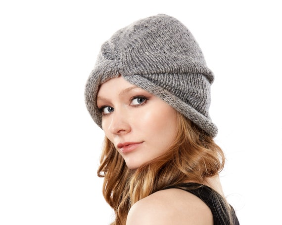 Winter Hat Slouchy Hat Knitted Beanie Wool Turban Skullcap Handknit Turban Wool Hat Women's Hat Gray Beanie Winter Accessories Ski Hat