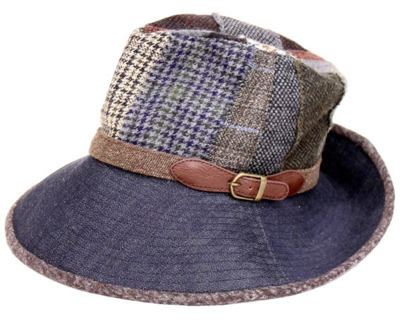 Dark Denim Fedora Hat Boho Style Fall Fashion Packable Hat Patchwork Wool Tweed Fedora Hat Tartan Plaid Recycled No Waste Fashion Travel Hat