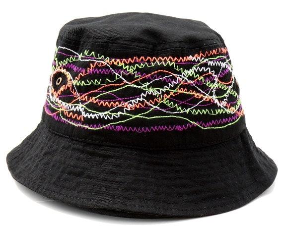 Men's Hats Men's Gift Men's 1990s Hat Black Bucket Hat Graffiti Embroidery Hip Hop Fashion Rocker Hat Festival Sun Hat Boating Hat Fall Hat