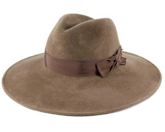 Taupe Fedora Hat Wide Brimmed Hat Women's Hat Spring Fashion Spring Accessories Felt Fedora Hat Custom Hat Millinery Hat Wide Brimmed Fedora