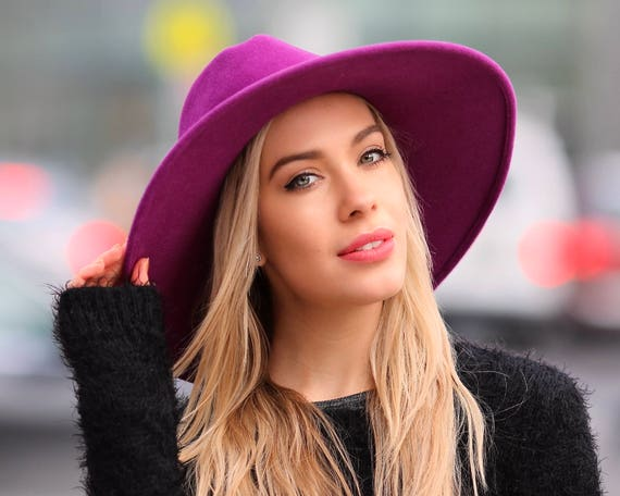 Purple Fedora Hat Women's Hat Fall Fashion Wide Brim Boho Hat Felt Fedora Hat Red Hat Violet Hat Ultramarine Hat Fall Hat