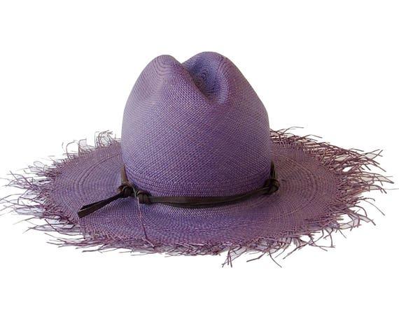 Cowboy Hat Panama Straw Hat Blue Straw Hat Men's Hat Women's Hat Western Hat Beach Hat Sun Hat Summer Hat Wide Brimmed Straw Hat