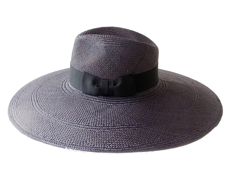 50b01df4e14 Wide Brimmed Black Fedora Hat Women s Spring Boho Fashion