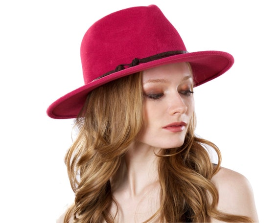 Wide Brimmed Hat Women's Fedora Hat Spring Fashion Spring Accessory Felt Hat Pastel Color Magenta Hat Women's Spring Hat Felt Hat