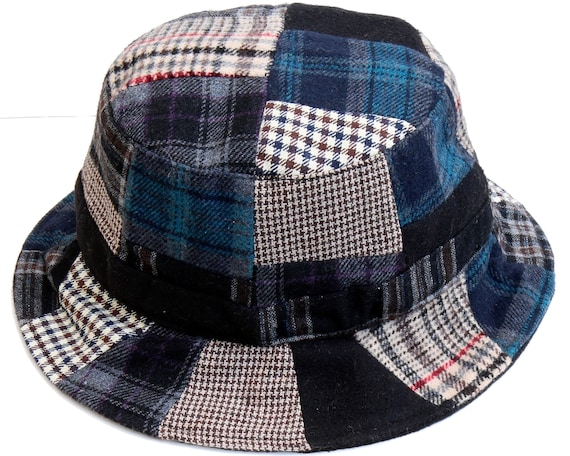 Plaid Bucket Hat Patchwork Hat Wool Tweed Men s Hat  ce049d4659c
