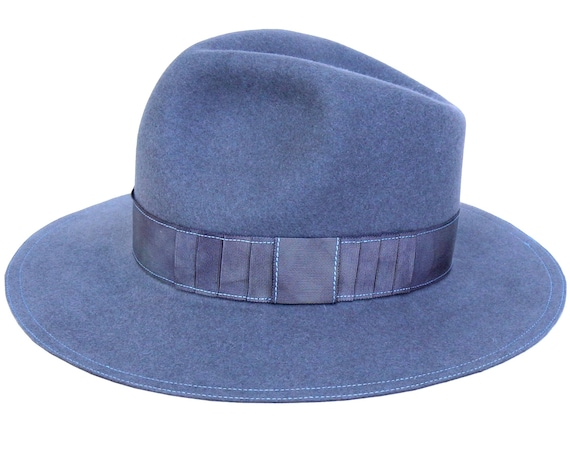 Gray Felt Hat Wide Brimmed Hat Men's Fedora Hat Fall Hat Tie Dyed Open Crown 1940s Men's Hat