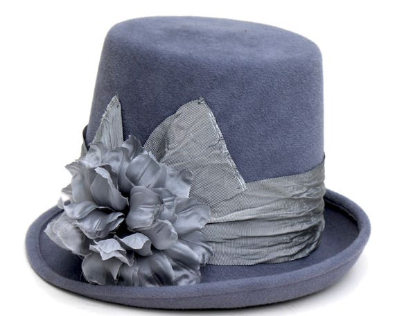 Blue Top Hat Victorian Riding Hat Women's Top Hat Gypsy Stevie Nicks Top Hat Felt Top Hat Gray Blue Hat Steampunk Hat Hippie Top Hat