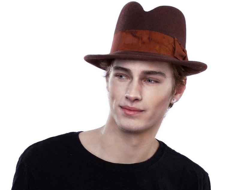 55dd438f4b7 Men s Felt Fedora Hat Brown Men s Hat Fall Accessory Fall Fashion Men ...  Men s Felt Fedora Hat Brown Men s Hat Fall Accessory Fall Fashion Men s  Gift 1920s ...