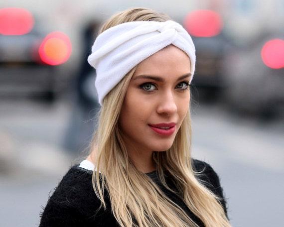 Ear Warmer Cashmere Turban Headband Women s Headband Ivory  5b69e6656f4d