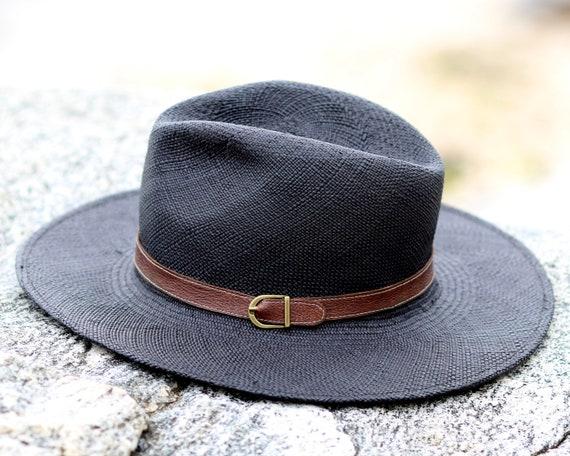 9d71a7ec4cd Handmade Straw Hat Handwoven Straw Black Hat Toquilla Straw