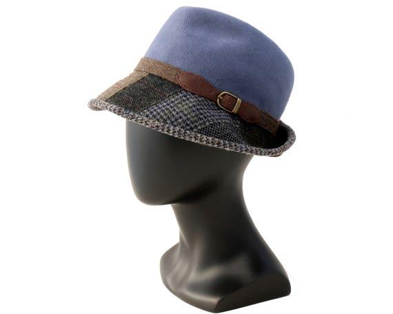 Tweed Fedora Hat Women's Hat Fall Fashion Fall Accessories Winter Accessories Felt Hat Plaid Patchwork Wool Fedora Hat Fashion Hat Fall Hat