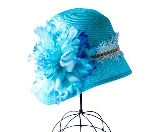 Straw Cloche Hat Women Turquoise Aqua Blue Caribbean Blue Wedding Flapper Hat Straw Hat Summer Hat Spring Hat Tropical Blue Handmade Flower