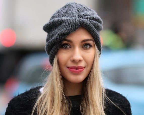 Hand Knit Turban Beanie Merino Wool Hat Women's Winter Hat Grey Beanie Knit Turban Winter Accessories Ski Hat Wool Beanie Gift For Her