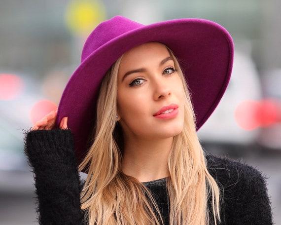Fedora Hat Women's Hats Women's Accessory Boho Hat Purple Hat Wide Brim Felt Hat Fall Fashion Spring Fashion Winter Accessories