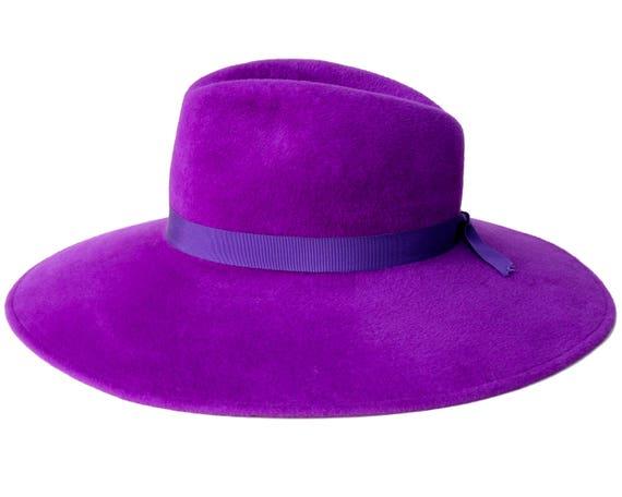 357262d6cdd Purple Hat Handmade Women s Hat Wide Brim Fedora Hat