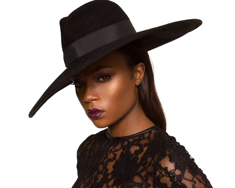 56304beafd776 Wide Brimmed Black Fedora Hat Women s Hat Fall Fashion 6