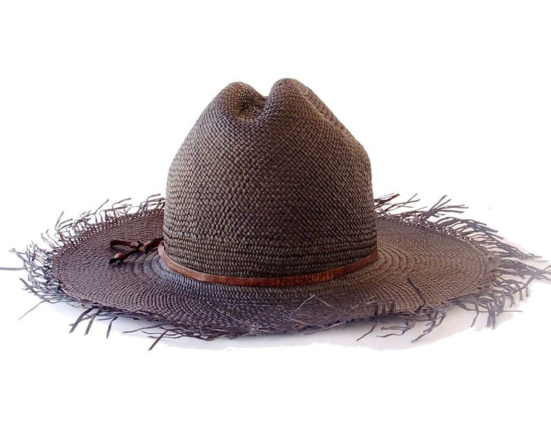 95bc8739e27c9 Cowboy Hat Panama Straw Hat Black Straw Hat Men s Hat