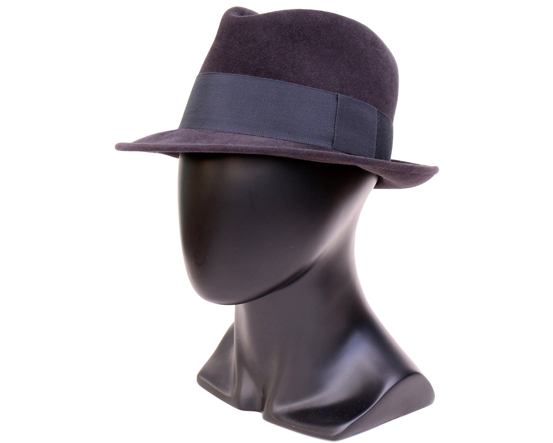5dec6c7bbb25f7 Navy Felt Fedora Hat For Men Dark Blue Hat Men's Dress Hat | Etsy