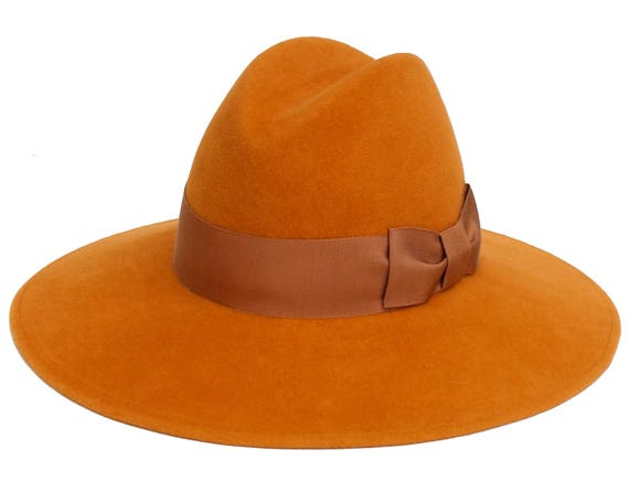 Women's Fedora Hat Women's Hat Autumn Maple Color Fall Fashion Fall Accessories Felt Hat Custom Hat Amber Gold Hat Fall Hat Wide Brimmed Hat