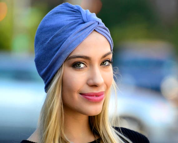 Turban Hat Denim Blue Tie-Dye  Stretch Turban Hair Wrap Hair Scarf Beach Turban Soft Head Covering Summer Turban Faded Denim Hat Wrap Turban