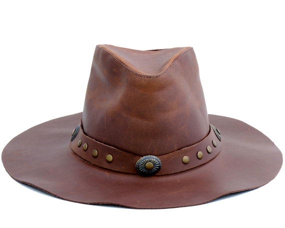 Leather fedora hat