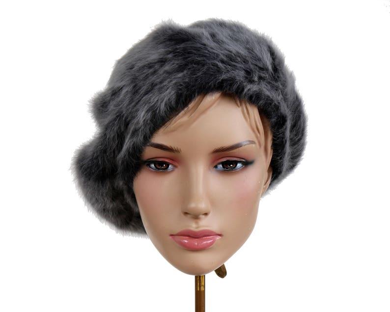 6ed94fa9773c5 Fur Beret Hat Faux Fur Hat Winter Hat Angora Wool Fur Hat Gray