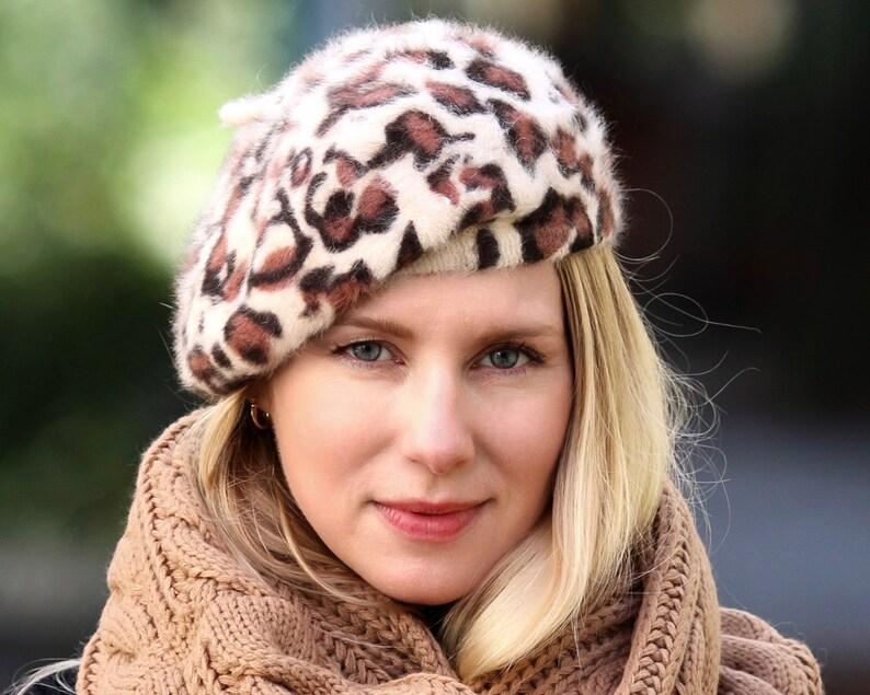 d52a2cc6e9e04 Leopard Beret Winter Hat Knit Beret Wool Beret Winter Beret