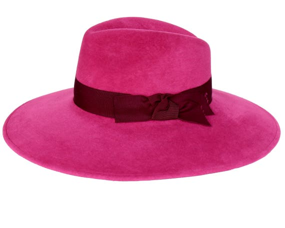 Womens Fedora Hat Pink Wide Brimmed Hat Women s Hat  69e6f1a2493