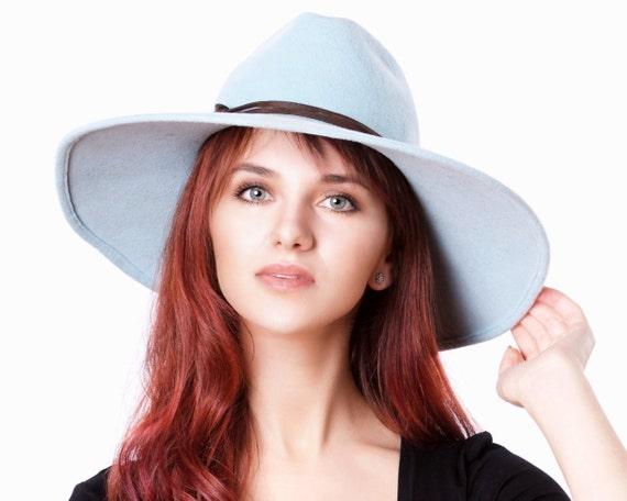 Wide Brimmed Fedora Hat Baby Blue Women's Hat Kentucky Derby Hat Women's Gift Mother's Day Spring Hat Pastel Blue Hat Women's Fedora Hat