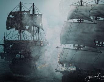 Digital Art - Pirate Ship Battle