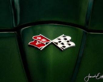Classic Corvette Flags Emblem #1 - Office Decor - Garage Decor