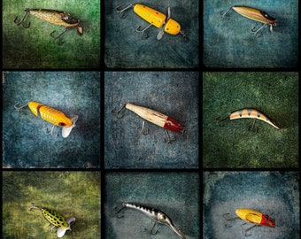 Vintage Fishing Lures 3 x 3 Grid - Photograph