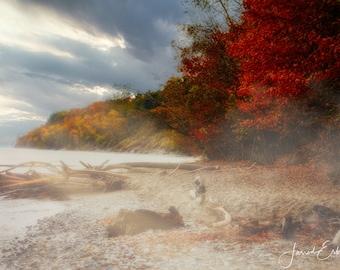 Autumn Lakeshore - Fall Landscape Photography - Lake Michigan