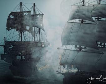 DIGITAL DOWNLOAD - Pirate Ship Battle - Digital Art