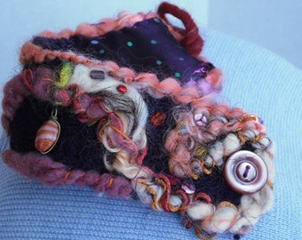 Deep Purple, Violet and Pink Felted Bracelet Cuff Bangle Beads Embroidery