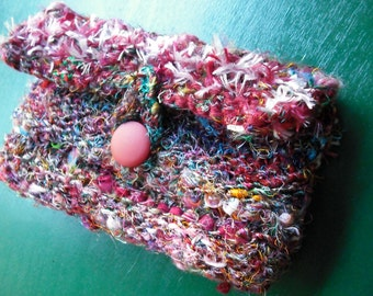 Hand Knit Shabby Boho Hippie Ecofriendly Clutch Purse from Recycled Yarn and Fabric