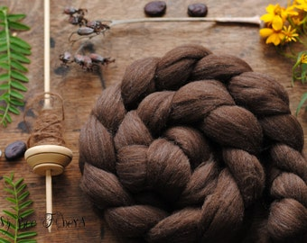 NATURAL BROWN MERINO  Undyed Wool Roving Combed Top for Spinning, Felting fiber - 4 oz