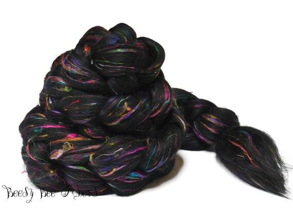 Sari Silk FIREWORKS Signature Blend Wool Roving Merino Combed Top 4 oz