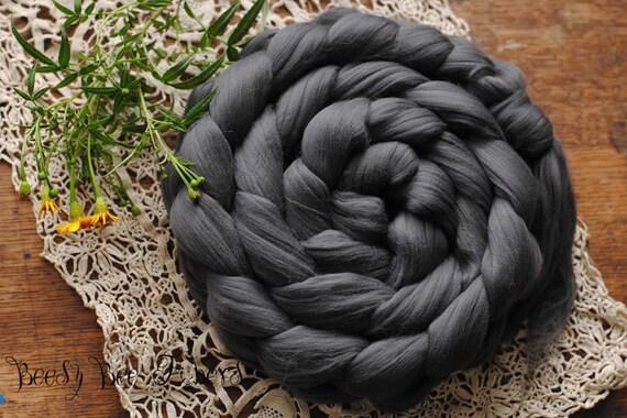 Carbonized Bamboo Top Vegan Black Undyed Bamboo Diamond Roving 4 oz