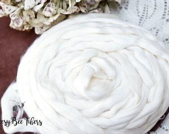 EGYPTIAN COTTON TOP - Undyed White Cotton Top, Cotton Roving, Cotton sliver, Spinning Cotton Roving Cellulose Fiber, Vegan