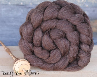Natural Undyed BROWN CORRIEDALE Wool Roving Combed Top for Spinning or Felting - 4 oz