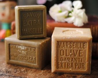 French Marseille Soap Olive Oil Bar Soap Authentic Savon de Marseille Felting Hypoallergenic Vegan Soap LARGE SIZE - 600 g - 21 oz - 1.3 lb