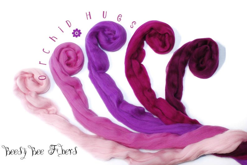 Merino Wool Roving Combed Top 5 colors Spinning Felting Wool 4 oz ORCHID HUES